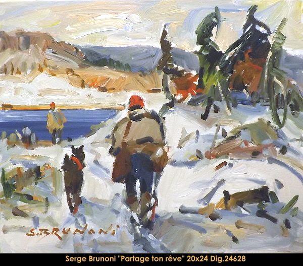 Original acrylic painting on canevas by Serge Brunoni new BOOK available october 19,2014 #sergebrunoni #art #artist #canadianartist #quebecartist #originalpainting #fineart #figurativeart #acrylicpainting #winterscene #hunter #dog #balcondart #multiartltee