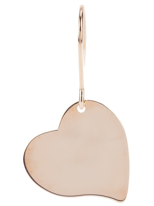 Metallic silver earring from Maman et Sophie featuring a large heart pendant and a hook fastening.