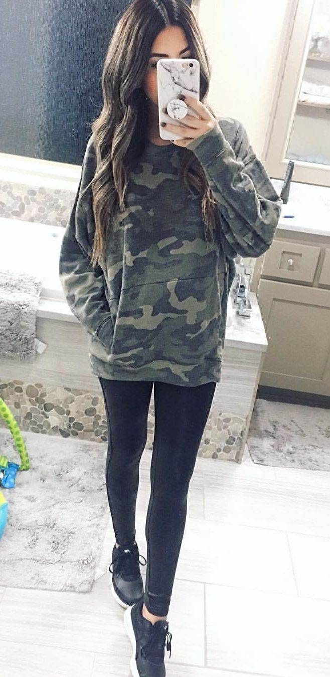 #fall #outfits women's woodland camouflage hoodie, black leggings, black-and-white shoes, and white android smartphone. Click To Shop This Look.