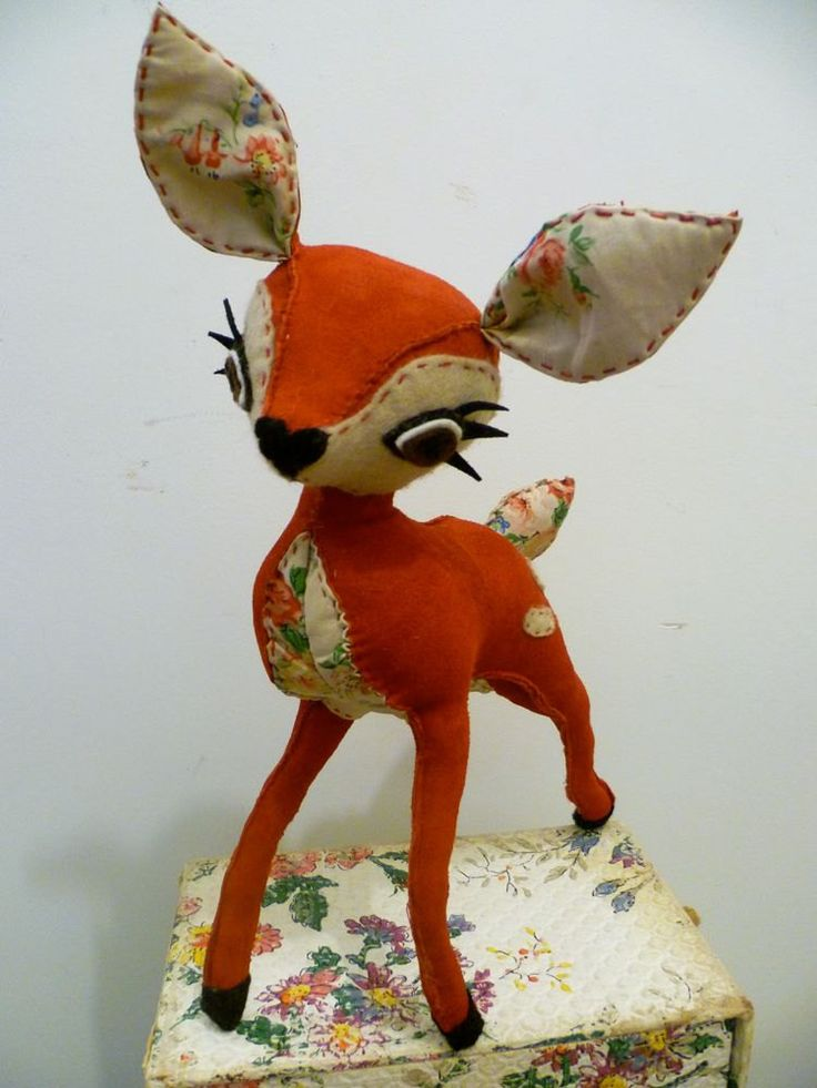 Red Suede & Mushroom Felt with Rosie Fabric Hand Stitched Deer
