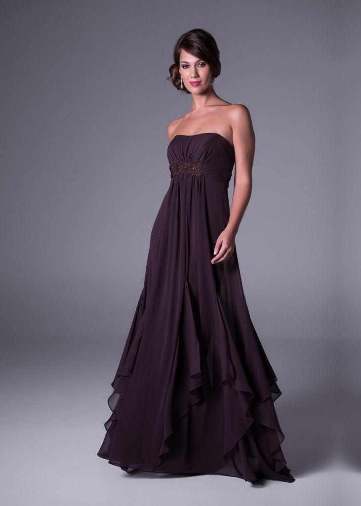Romantic and Ultra Flattering. This strapless, crinkle chiffon, #bridesmaid's dress with godets is available in 10 popular colours to match your wedding theme. Click to View the Price or Book a Fitting Online (style F14865).