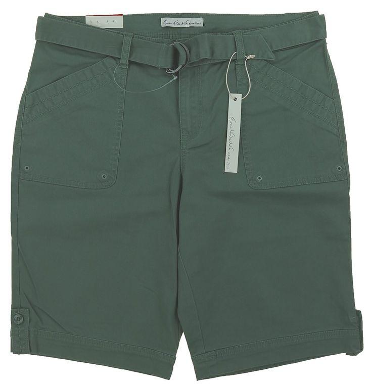 Gloria Vanderbilt Womens Size 10 Sierra Stretch Twill Shorts w/Self Belt, Sweet Basil