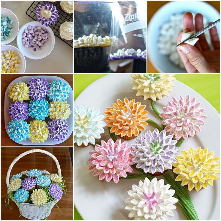 Pretty Marshmallow Flower Cupcake, Incredibly Simple ! (y)  Directions--> http://wonderfuldiy.com/wonderful-diy-marshmallow-flower-cupcake-topping/