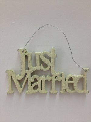 Just Married Wooden Sign £4.99 Shabby chic East Of India wooden sign, very cute which reads 'Just Married' has a cream finish and attached wire hanging. A lovely gift and can also be used as part of the wrapping for the wedding gift!! Dimensions Approx: H 5cm, W 9cm, D 0.4cm #weddinggifts