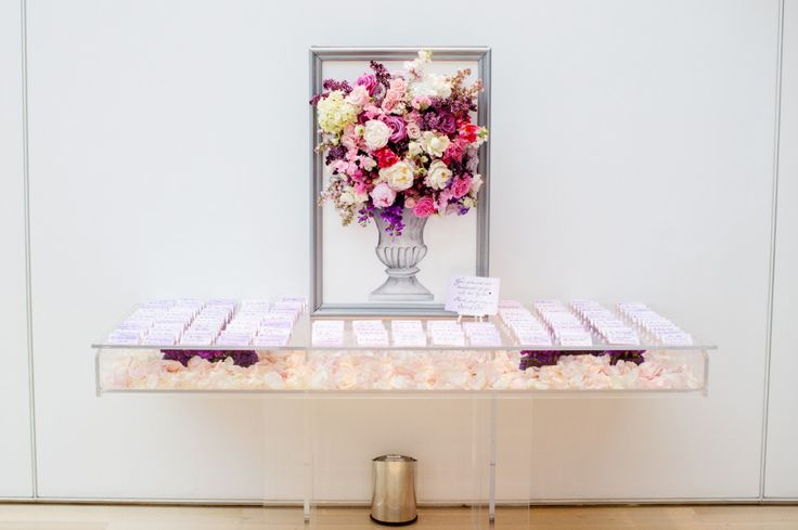 Olivia Leigh Photographie. Art of Institute of Chicago. Vale of Enna flowers. Rose. Lilac. Tulip. Peony. White, Pink, and Purple. Escort Card Table. Chicago Wedding.