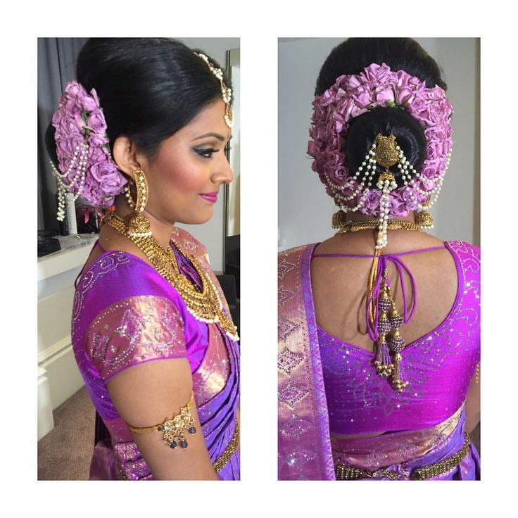 South Indian bride. Gold temple jewelry. Jhumkis.Purple silk kanchipuram sari.Bun.Tamil bride. Telugu bride. Kannada bride. Hindu bride. Malayalee bride.Kerala bride.South Indian wedding