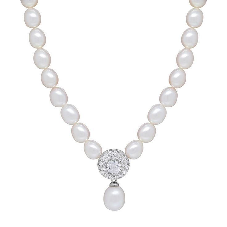 Freshwater by Honora Sterling Silver Freshwater Cultured Pearl & Crystal Necklace, Women's, White