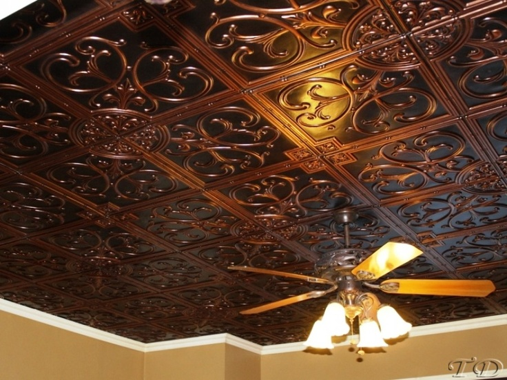 Beautiful copper ceiling tiles..would be perfect for a basement!