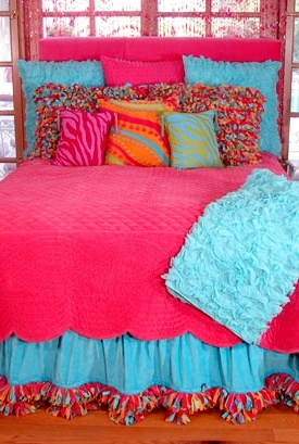 Bright colored bedding with zebra accents