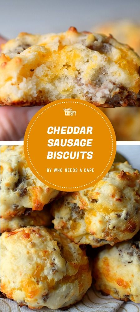 Packed with gooey cheese, these cheddar sausage biscuits from Who Needs a Cape? can be made in less than 15 minutes. (Cheese Snacks Recipes)