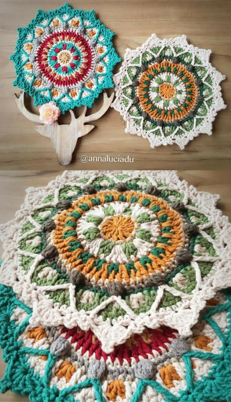 Best 25 crochet trivet patterns ideas on pinterest crocheting 15 colorful mandala crochet patterns perfect for stash busting bankloansurffo Image collections