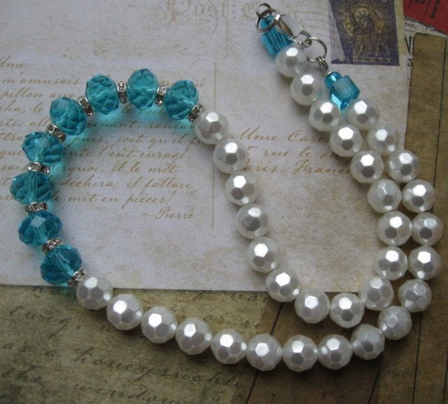 TEAL AND PEARLS necklace. $24.00.  Beautiful.  http://www.etsy.com/listing/125327024/teal-and-pearls?#