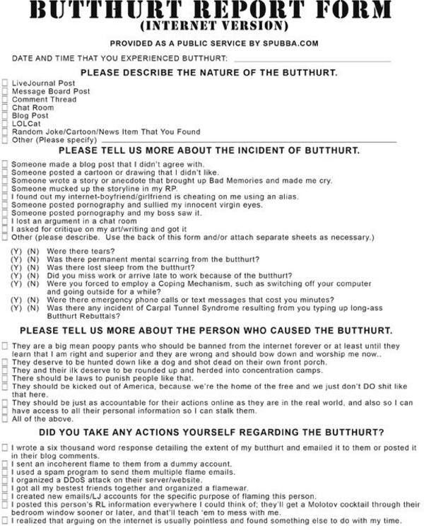 Official Internet Butthurt Report Form http\/\/wwwpolitical-humor - incident reporting form