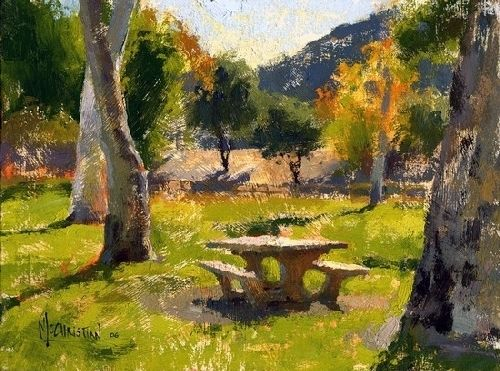 'Sycamores and Picnic Table' by Jennifer McChristian Oil ~ 7 x 9