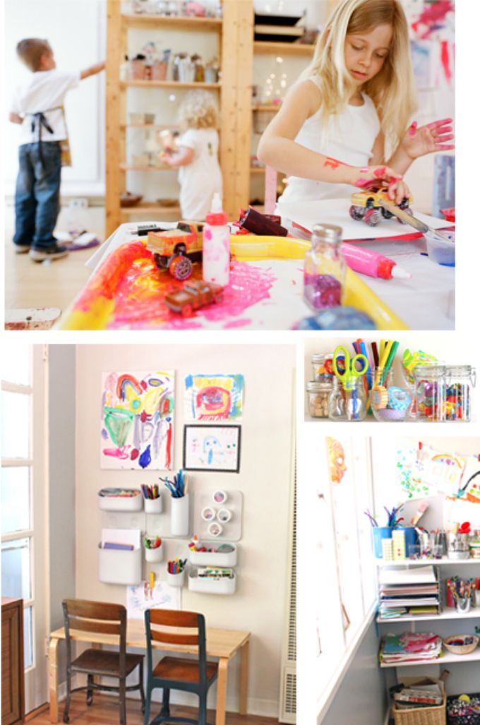 Kids Art Spaces -- Do your kids have their own art space? (Mine do, but still do a lot of their art at the kitchen table...)