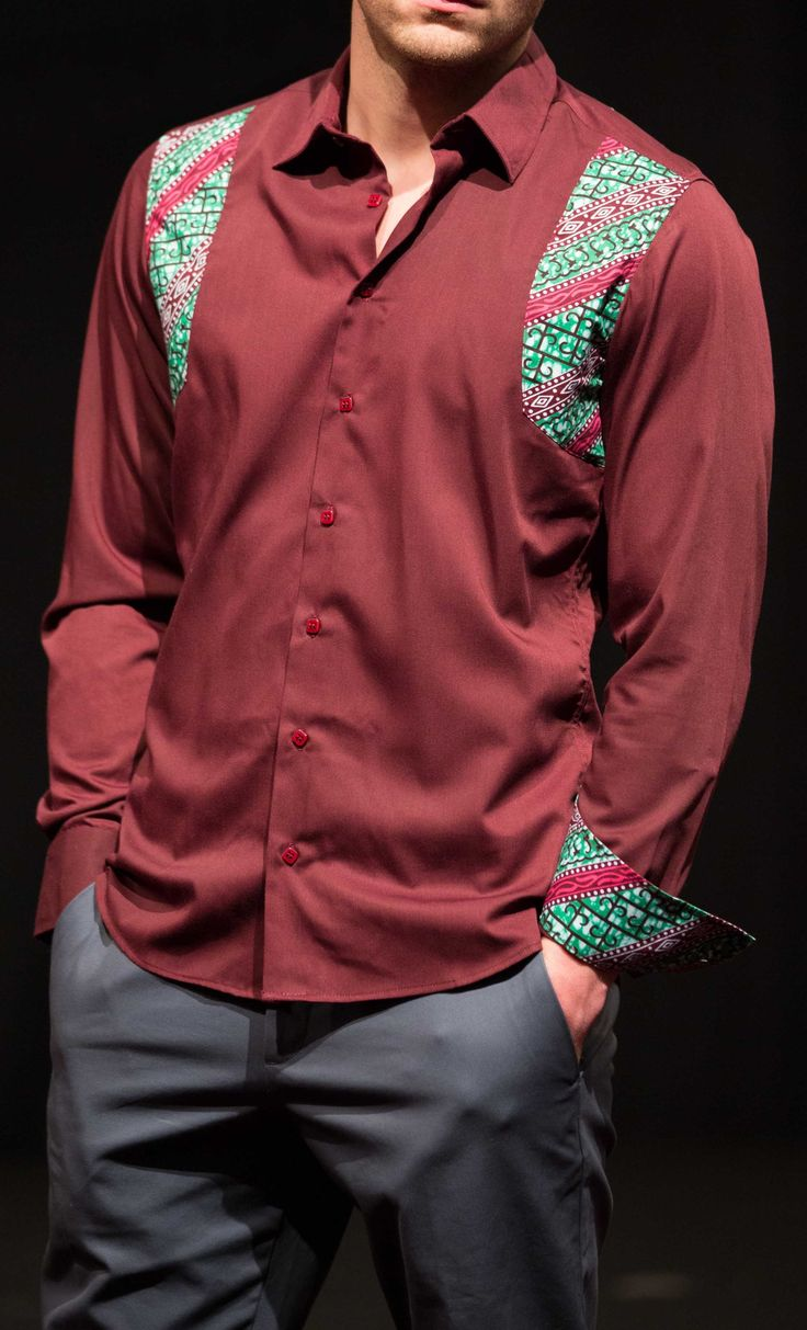 Chemise kara bordeaux - par Kévé - Chemises créatives sur Afrikrea, €65.00