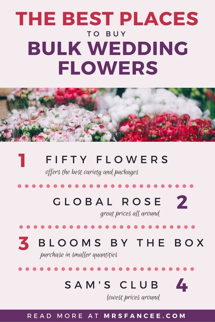 The easiest way to save money on your wedding day is to buy bulk wedding flowers online and DIY them yourself. For our wedding, we bought our flowers in bulk from a few different online floral wholesalers and saved a bundle! Here are my top places to buy flowers in bulk for your wedding, from my own personal experience