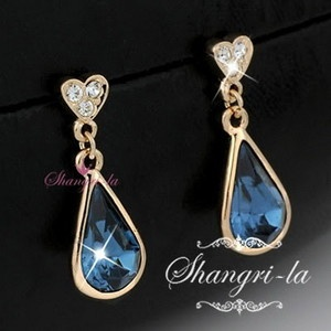 eBay $14.74.  9K 9CT GOLD GF Blue SAPPHIRE Teardrop EARRINGS w/ SWAROVSKI CRYSTAL L275