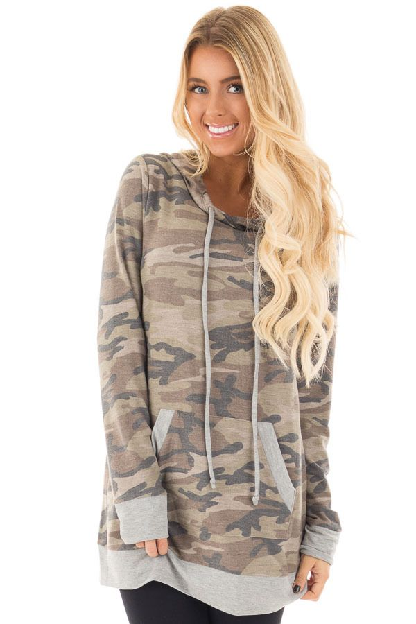 Camo Print Hoodie with Heather Grey Contrast front close up