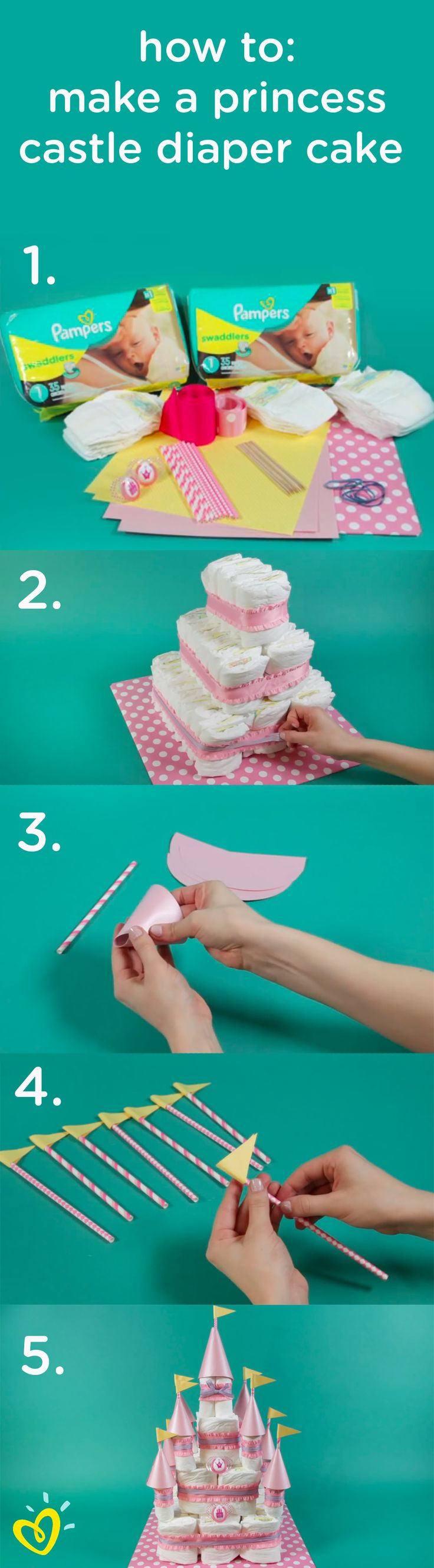 Learn how to create this fun DIY princess diaper cake castle with an easy step-by-step video. This would make a wonderful baby shower gift, decoration, or thoughtful surprise for your close friend and her new bundle of joy.