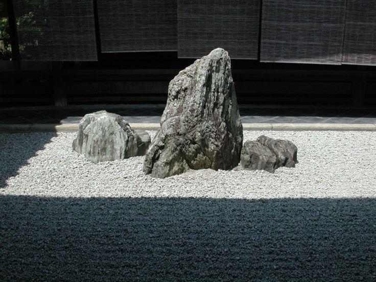 The Buddhist triad stone setting in Daisen-in a sub-temple of Daitoku-ji, Kyoto.