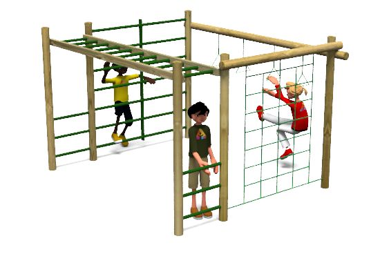 Carleton 2 Climbing Frame Playground Equipment includes a ladder, climbing bars, trapeze rings and a climbing net. http://www.actionplayandleisure.co.uk/carleton-2/