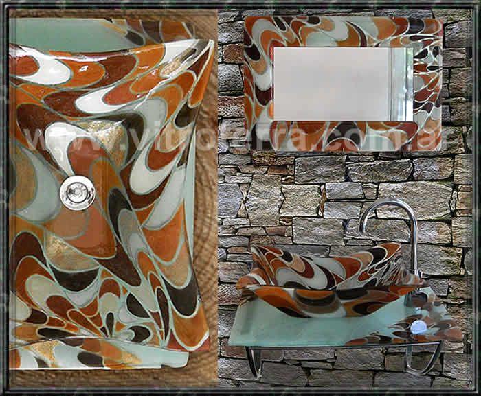 Mesada de vidrio para baño modelo Pucci