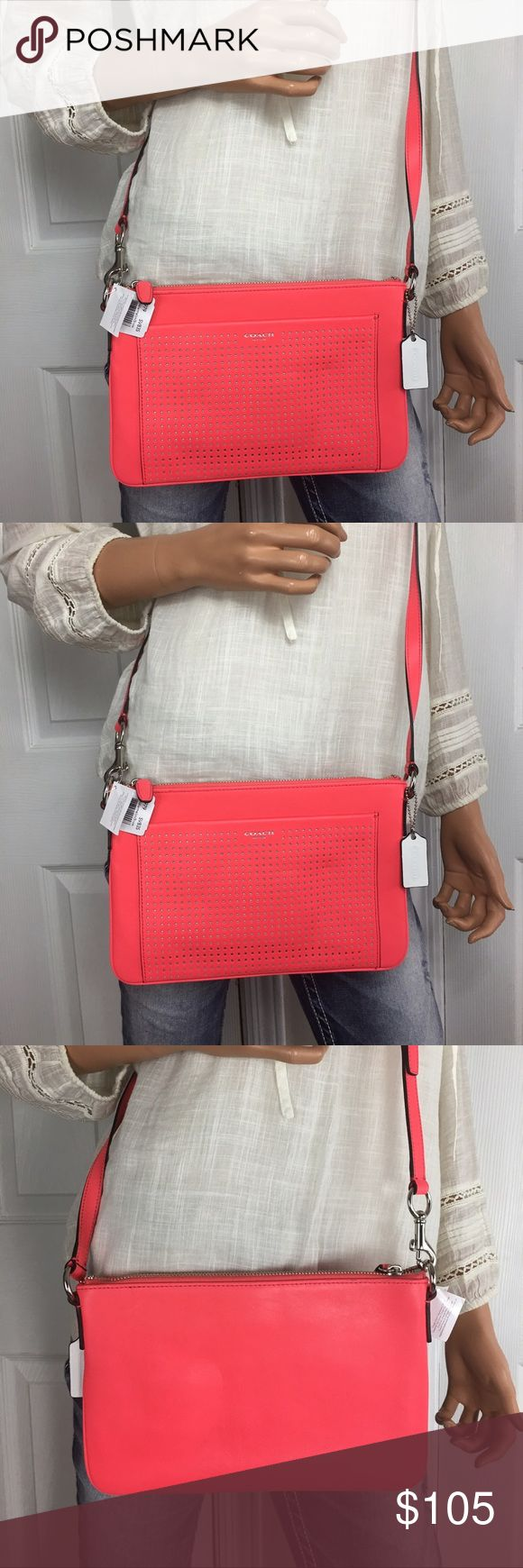 NWT Coach Legacy Leather Crossbody Brand new w tags ! Coach Leather Legacy Perforated Swingpack!!  Inside has a khaki lining with one slip pocket ! Coach Bags Crossbody Bags