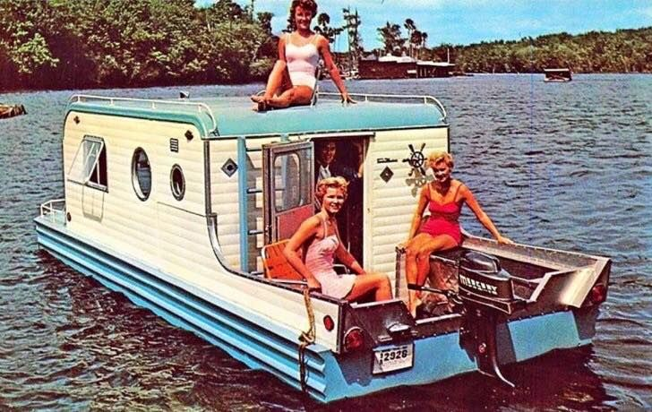 "The classic Aqua-Trail ""Terra Marina"" was only in production for one year, from 1959-1960, and only 35 were ever made. This camping trailer doubled as a houseboat, & was completely self-contained, to make towing or rowing a breeze."