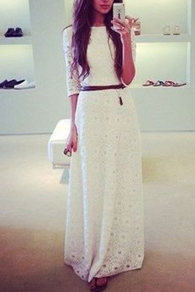 full lace dress with belt