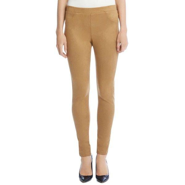 Karen Kane Faux Suede Leggings (€93) ❤ liked on Polyvore featuring pants, leggings, camel, beige leggings, camel leggings, faux suede pants, skinny leggings and skinny trousers