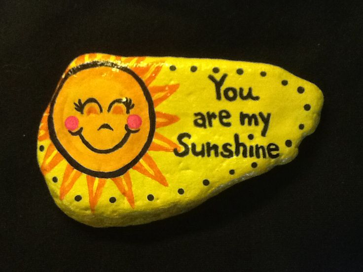 Painted rock by Phyllis Plassmeyer #sunshine