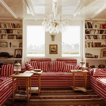 The Power Of Upholstery: Red Striped Sofas.