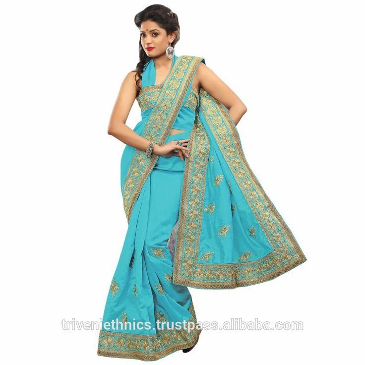 Забавно голубой сари границы работал сари-Индийская и пакистанская одежда-ID товара::50014951063-russian.alibaba.com