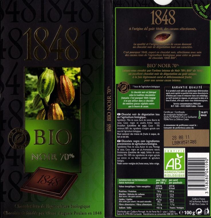 tablette de chocolat noir dégustation poulain 1848 bio noir 70