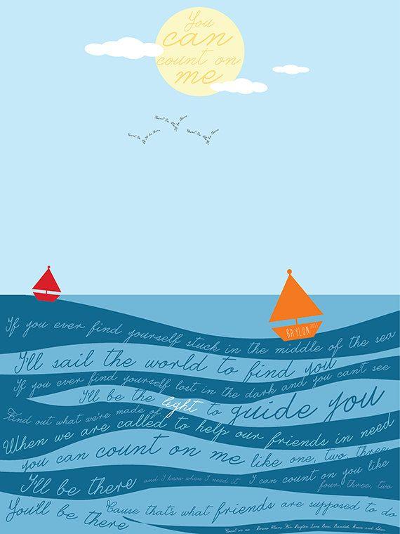 Count on Me... Bruno Mars Lyrics CUSTOM Poster Digital Design by CatchingFirefliesCo, $19.00