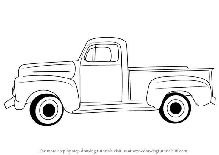 Learn How To Draw A Vintage Truck Vintage Step By Step Drawing
