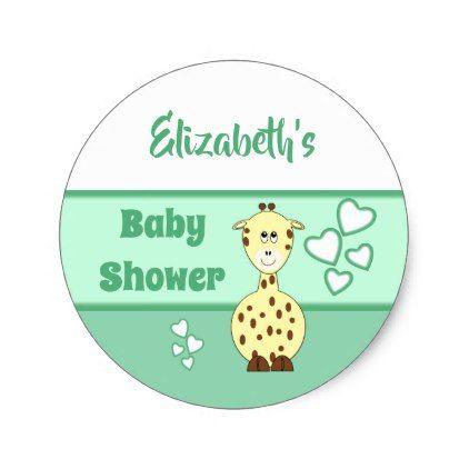 Yellow Giraffe Green Baby Shower Party Favor Classic Round Sticker - baby shower ideas party babies newborn gifts