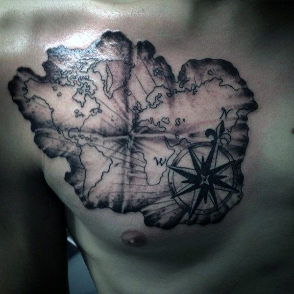 Upper Chest World Map Tattoo For Men With Compass