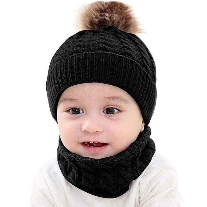2Pcs Toddler Baby Girls Boys Winter Warm Knitted Bobble Hat Faux Fur Pompom  Beanie Ski Cap dfd95a8ce4db