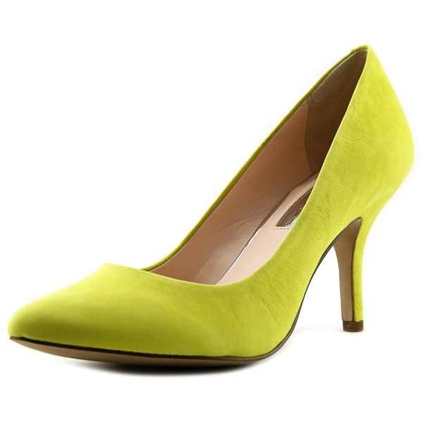 Inc International Concepts Zitah Pointed Toe Leather Heels ($56) ❤ liked on Polyvore featuring shoes, pumps, yellow, yellow high heel pumps, dress shoes, yellow pointed toe pumps, yellow high heel shoes and leather pumps