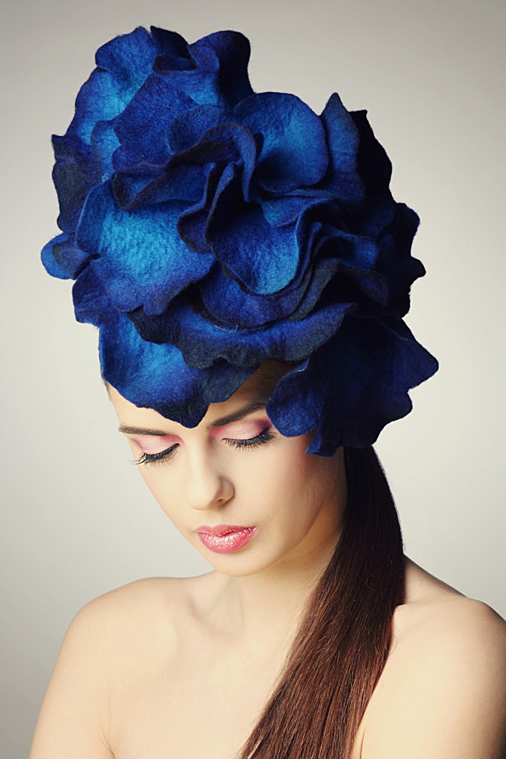 Bright Blue Rose fascinator hat with merino wool, silk fibers and chiffon silk. The milliner, Eve Anders, does not say it's a flower...but is might be...