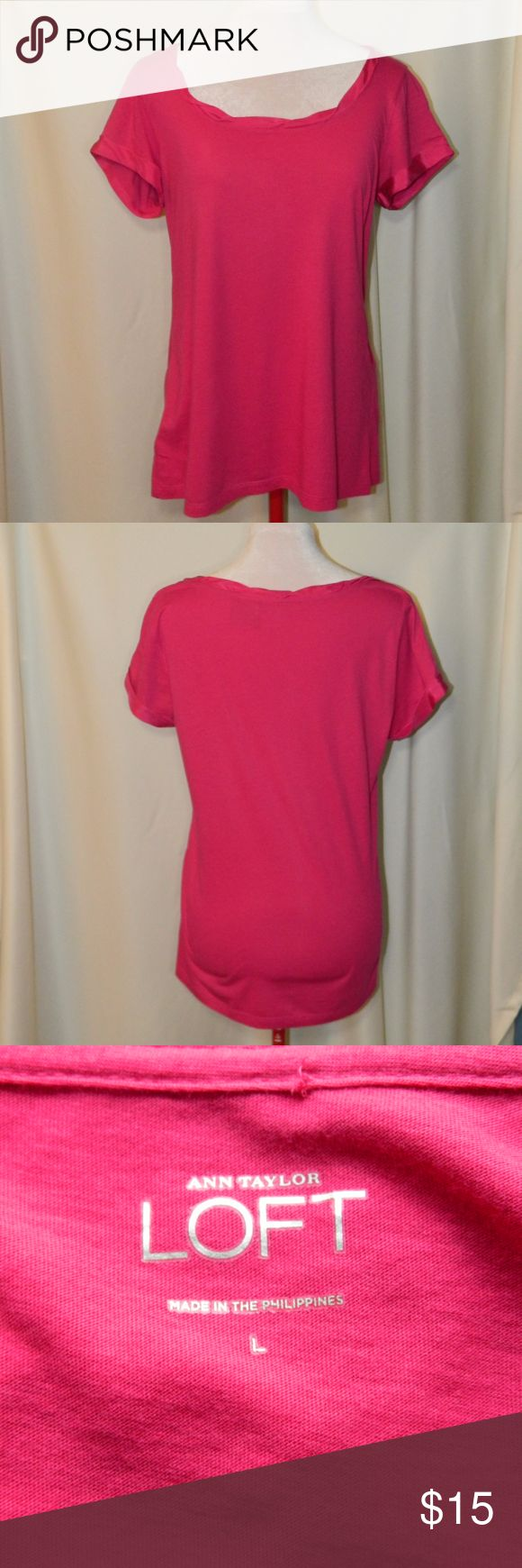 LOFT Bright pink short sleeved top Very pretty short sleeved top with silk trim around the neckline and sleeves! Super soft! 60% cotton, 40% modal. In very good condition. Size L Approximate Measurements: Total length neckline to hem = 25 in;  Armpit to armpit = 20 in. LOFT Tops Tees - Short Sleeve