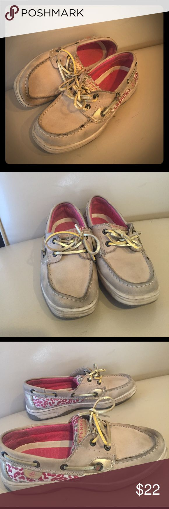 Girls Sperry Top-Sider Boat Shoes Size 1.5 Pink Adorable girls Sperrys size 1.5M brown with pink cheetah print! Good used condition, see pictures for signs of wear. Sperry Top-Sider Shoes Sneakers