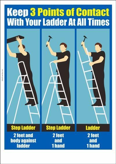 Keep 3 points of contact with your ladder