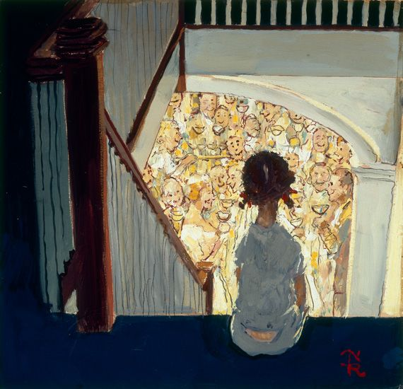 """this is the fabulous tiny painting (10x10) by Norman Rockwell: """"Little girl looking downstairs at Christmas Party"""" (1964)- George Lucas collection"""