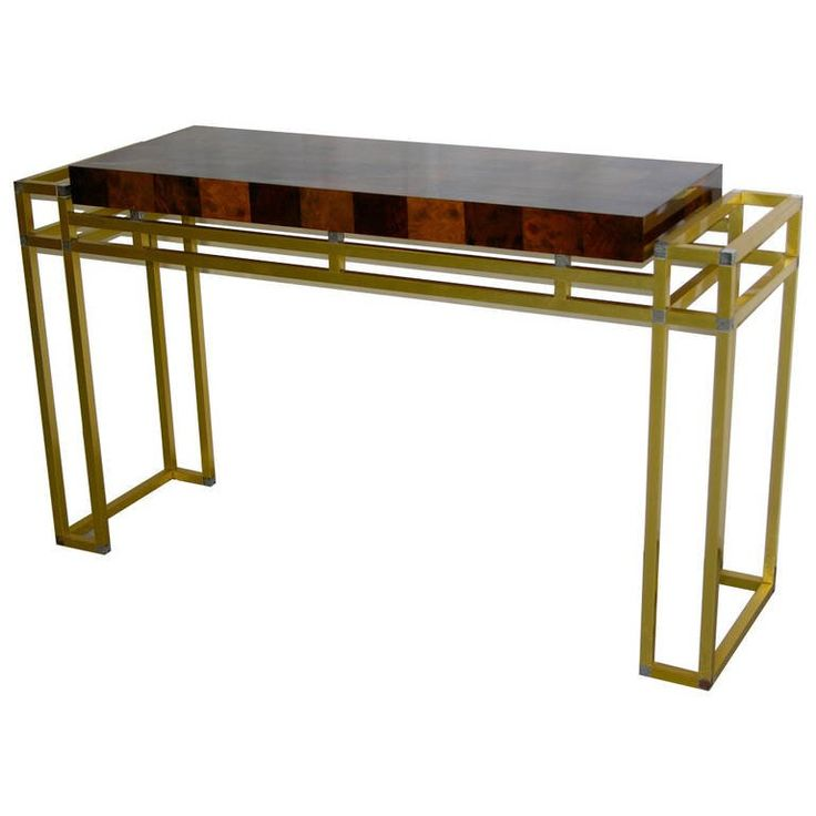 Mario Sabot 1970s Double-Framed Bronze and Burl Walnut Console