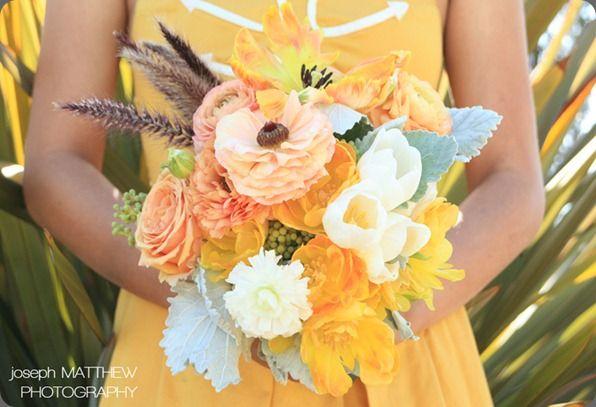 Peach, Orange, Yellow, White.  Unexpectedly beautiful!: Bouquets Inspiration, Bridal Bouquets, Favorite Bouquets, Flowers Arrangements, Wedding Floral, Pale Yellow, Bouquets Flowers, Orange Bouquets, Yellow Bridesmaid Dresses