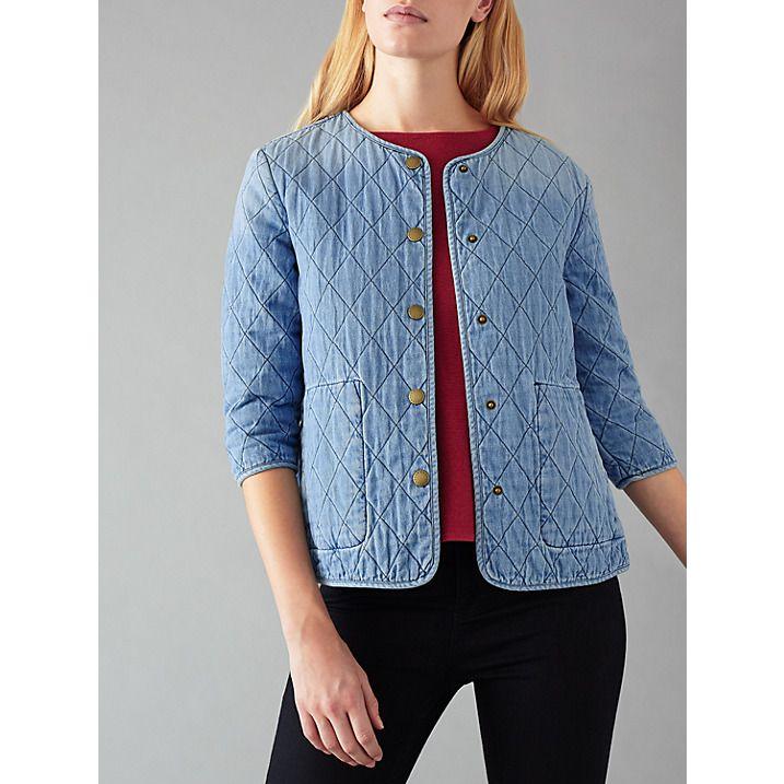 Buy Barbour Heritage Ros Quilted Denim Jacket, Bleach Wash, 14 Online at johnlewis.com