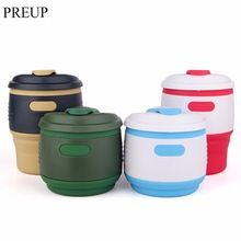 PREUP 350ml Foldable Silicone Coffee Cup with Lid Potable Coffee Mug Anti-dust Coffee Cup Seal Bottle tazas tea cup travel mug(China (Mainland))
